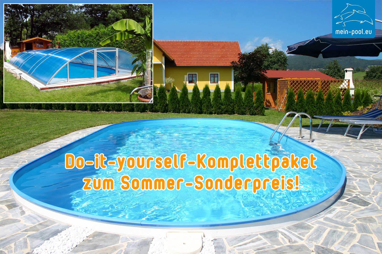 Do-it-yourself-Komplettpaket: Pool, Technik + Überdachung ...